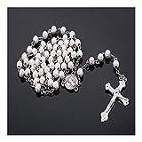 SHOYY Colgante, Collar de Perlas Religiosa Nuevo de la Manera Hecha a Mano en Torno a Jesús Cuentas Rosario católico Cruz Calidad Collar de la Cruz del Grano (Metal Color : X01507)