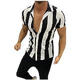 XUEbing Camisa con botones para hombre, camisa Hawwian para hombre, polo impreso, empalme, colorido, ajuste holgado, cuello