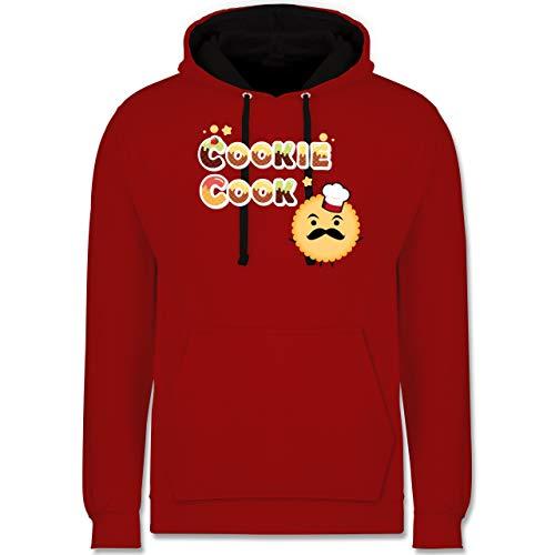 Shirtracer Küche - Cookie Cook Keksfigur - L - Rot/Schwarz - Keks - JH003 - Hoodie zweifarbig und Kapuzenpullover für Herren und Damen