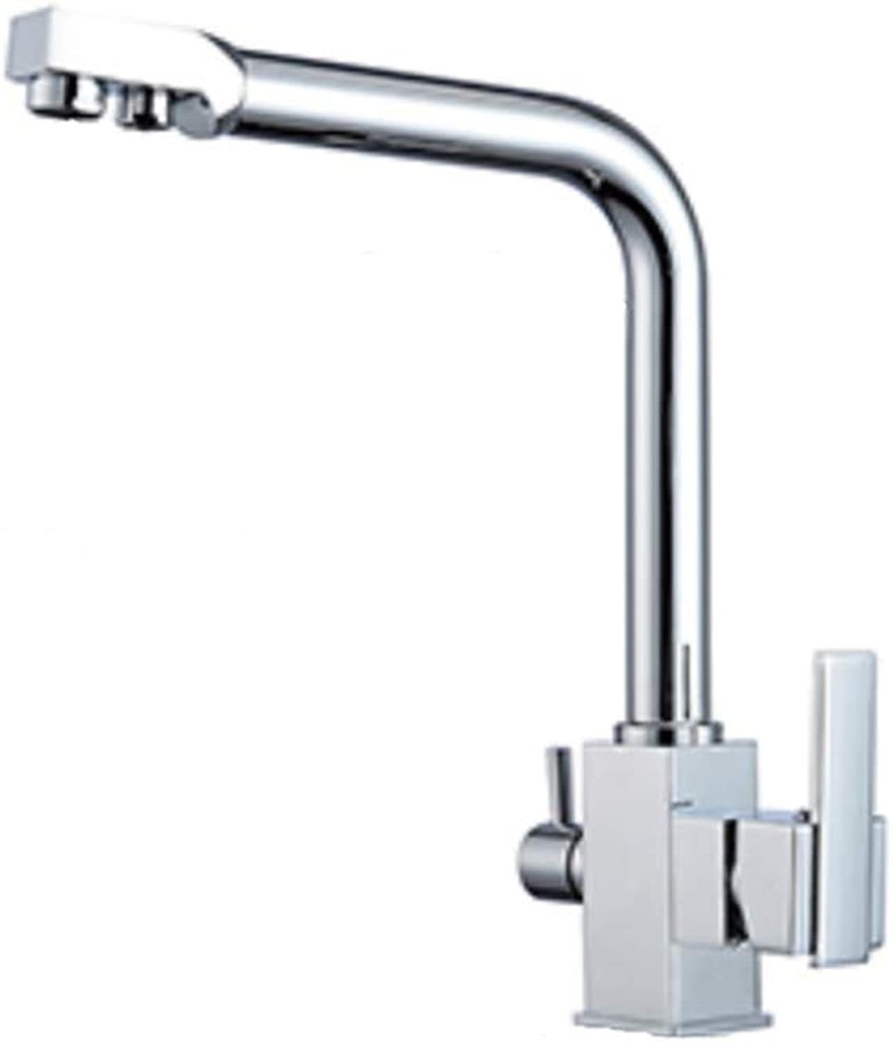 Taps Kitchen Basin Bathroom Washroomsquare Filter Faucets Kitchen 3 Way Water Tap Dual Lever Kitchen Taps Chrome Deck Mounted Water Purifier Faucet