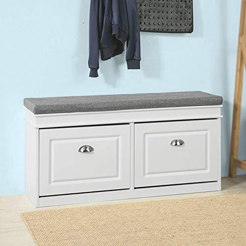 Haotian FSR64-W, White Storage Bench with Drawers & Padded Seat Cushion, Hallway Bench Shoe Cabinet Shoe Bench (White)
