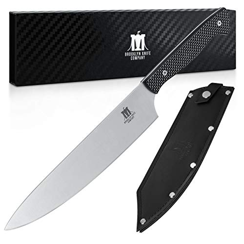 Brooklyn Knife Co. Chef Knife - Carbon Fiber Series - Japanese AUS-08 HC Super Steel - Sheath, 8-Inch