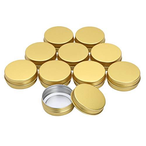winying 10 Stück 30ml Aluminium Leer Döschen Rund Reise Cremedose Tiegel für Creme Lotion Masken Kosmetik Nagelkunst Gold 30ml