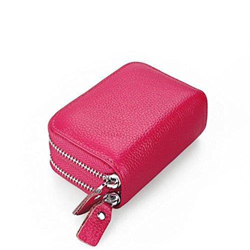 AprinCtempsD RFID Cartera Tarjeteros Piel Genuino Monedero Pequeñas Portatarjetas Mini Cremallera para Mujer Hombre (Rosa)