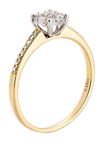 Ardeo Aurum Damenring aus 585 Gold bicolor Gelbgold Weißgold mit 0,28 ct Diamant Brillant Solitär-Ring Verlobungsring Solitaire