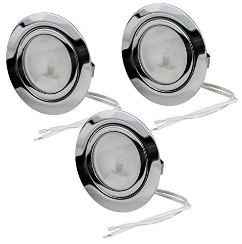 3er Set Halogen Möbeleinbauleuchte | Chrom glänzend | DIMMBAR | inklusive 12V 20Watt G4 Leuchtmittel und 15cm Anschlusskabel