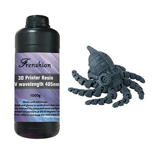 Resina per stampante 3D lavabile in acqua, resina fotopolimerica standard a polimerizzazione UV 405 nm, basso odore e polimerizzazione rapida ad alta precisione per stampa 3D LCD, 1000 g grigio + blu