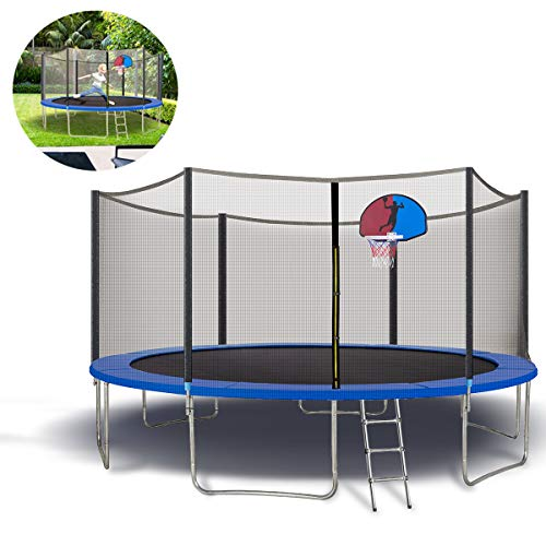Trampoline 15FT Jumping-Bed with Enclosure Net, Basketball Recreational Trampolines Jump-Dunk for Kids Adult Bounce Outdoor, Family Backyard Safety Sports with Mat Spring Pads Steady-Ladder Hoop