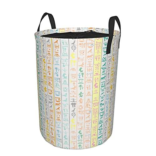 Cesta de almacenamiento, fondo colorido con jeroglíficos egipcios, cesto de lavandería grande plegable con asas 19'x14'