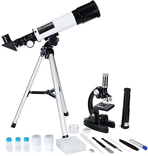 Telescopio astronómico, microscopio, Maleta de Caja de Regalo de Dos en uno, para niños exploración de Aprendizaje Experimental de biología.