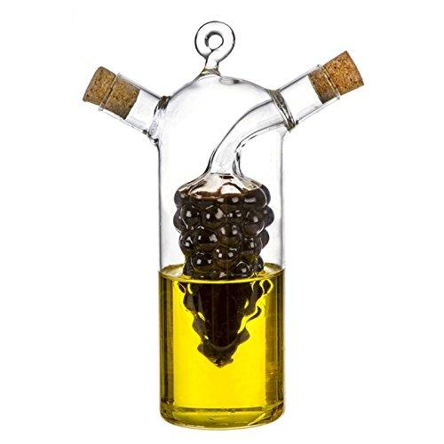 ML - Dispenser di olio e aceto bottiglia – oliera di vetro, trasparente, 300 ml