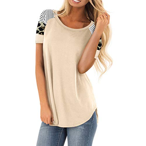 CAZOY Women's Striped Printed Shoulder Short Sleeve Tunic Tops Plain Color Curved Hem Cotton Linen Comfortable Casual Classic Polo Shirts Spring and Summer Outdoor Sports Dinner Party T-shirt Blouses