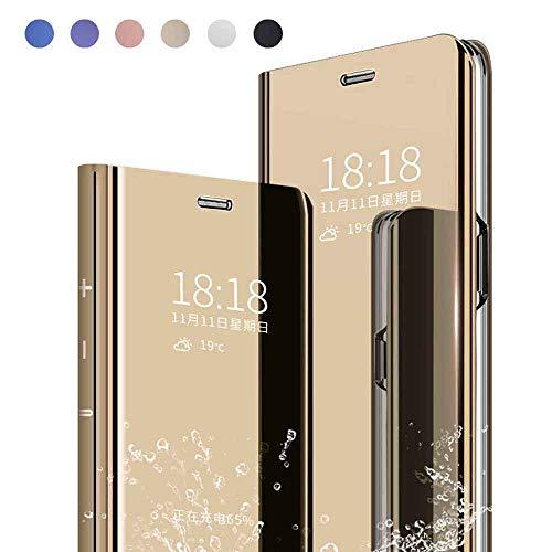 Yutwo Cover per Samsung Galaxy C9 PRO, Clear View Specchio Standing Cover, Slim Mirror Flip Custodia Bookstyle Wallet Portafoglio Elegante Smart Flip Ultra Slim Case - d'oro