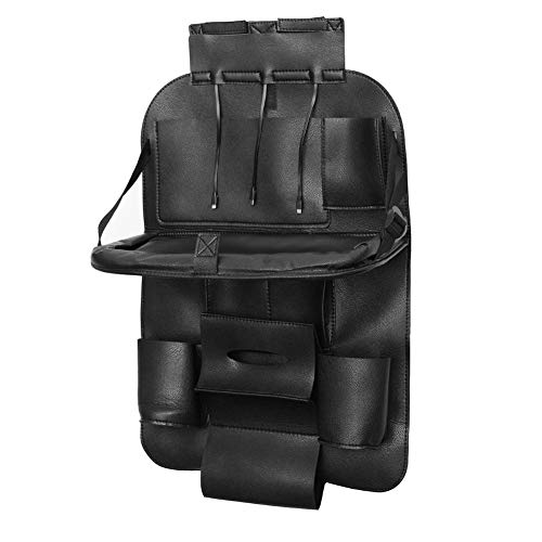LLZGPZSND Leren zwart autostoel rugzak multi-Pocket Organizer Folding opbergtas houder met 3 soorten USB-lader adapter A
