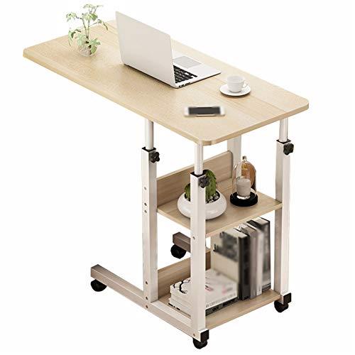 Mesa de trabajo para ordenador portátil sobrecama 60 x 40 cm con ruedas, mesa de noche para computadora con altura ajustable con ruedas, mesa auxiliar pequeña, bandeja para comida y mesa portátil