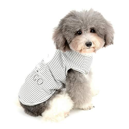 Zunea Camisetas para perros pequeños Chico Chaleco a rayas Verano Tank Top Ropa de Cachorro Mascota Gatos Camiseta Algodón Suave Ropa Chihuahua Ropa Negro XL