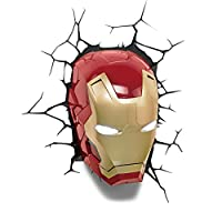 - Lampe Murale 3D Deco Light Marvel - Iron Man- Stickers murales inclus- Guide de perçage inclus-