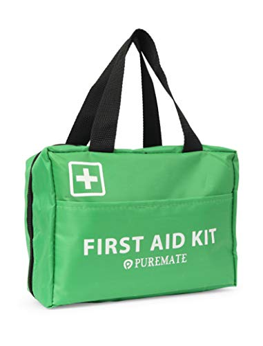 PureMate Kit di Pronto Soccorso da 96 Pezzi - Kit di Emergenza - Include colliri, impacco di Ghiaccio (Freddo), Rilievo in Fustagno, per Viaggi, casa, Ufficio e Auto