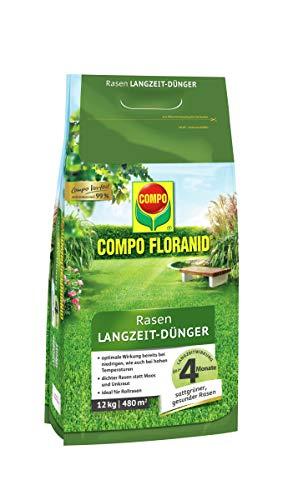 COMPO FLORANID Rasen Langzeit-Dünger, 4 Monate Langzeitwirkung, Feingranulat, 12 kg, 480 m²