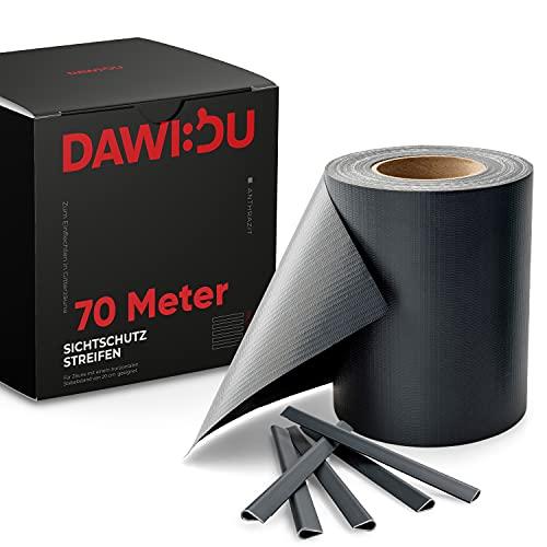 DAWIDU Zaun Sichtschutzstreifen für Doppelstabmatten - 70m x 19cm inkl. 52 Clips - 3 Farben - Hochwertiger Wind- & Sichtschutz Zaun Anthrazit 450g/m² - Einfache Montage & langlebiger Schutz
