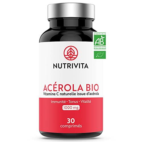 Acérola Bio 1000 mg | Vitamine C 100% Naturelle | Réduit la Fatigue & Soutient le Système Immunitaire | Saveur Fruits des Bois | Sans Sucre | 30 comprimés à croquer | Fabriqué en France | Nutrivita