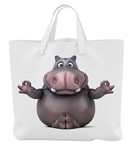 Merchandise for Fans Einkaufstasche - 45 x 42 cm x 9,5 cm, 18 Liter - Motiv: 3D Comic Nilpferd beim Yoga - 03