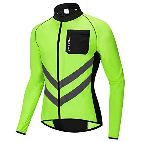 Roeam Herren Jacke Leicht Winddichte und Wasserdicht mit Reflektierender Streifen, Langarm Trikot Jacke zum Outdoor Radfahren Reiten Laufen Joggen