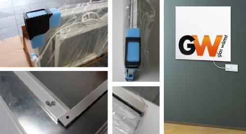 Glaswärmt Infrarotheizung Infrarot 550 Watt ESG Glas Weiss Glasheizung