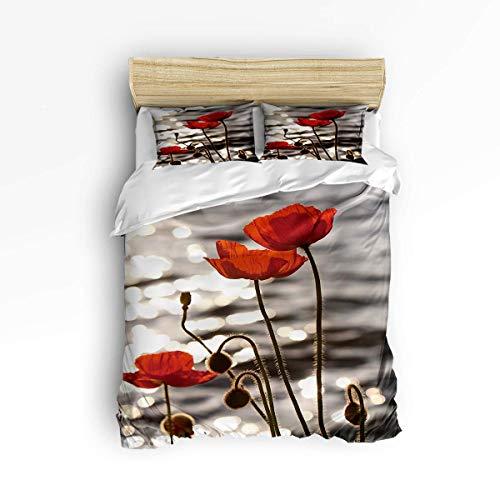 3 Stück Bettwäsche Set Verschluss Wasseroberfläche Mohn Blumensamen Trösterbezug Set Bettbezug