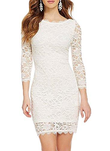 YASIOU Hochzeitskleid Elegant Damen Eng Kurz Tüll Spitze Weiß 3/4 Arm Vintage Knielang Corsage Brautkleid mit ärmel