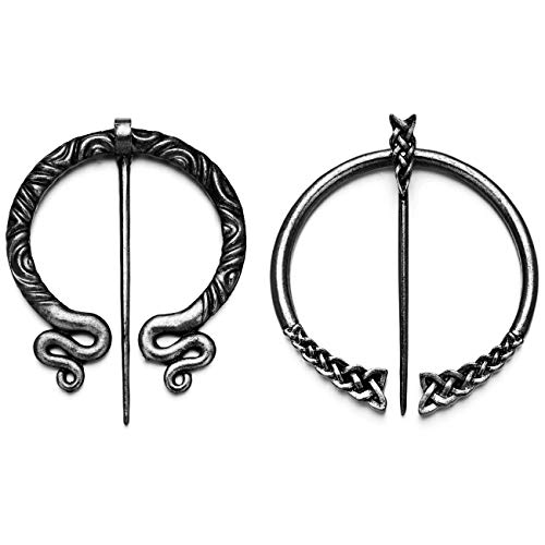 XGALA 2 Pcs Vintage Style Antique Silver Tone Pin Clasp Cloak Pin Celtic Shawl Scarf Penannular Viking Brooch Jewelry for Women Girls