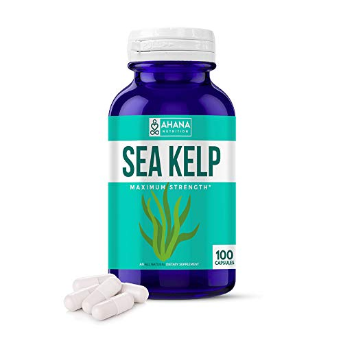 Organic Sea Kelp Capsules by Ahana Nutrition – Natural Iodine Supplement for Thyroid Support, Energy, Stamina and Metabolism Support (150mcg - 100 Easy to Swallow Capsules) (100 Capsules)