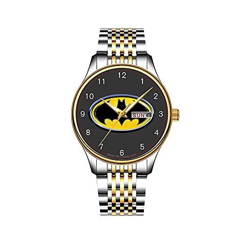 Reloj de Pulsera para Hombre con Mecanismo de Cuarzo japonés, Fecha, Correa de Acero Inoxidable Dorada, Logotipo de Batman, Pintura en espray