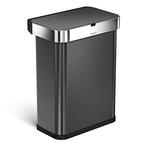 simplehuman 58 Liter / 15.3 Gallon Stainless Steel Touch-Free Rectangular Kitchen Sensor Trash Can with Voice and Motion Sensor, Voice Activated, Black Stainless Steel