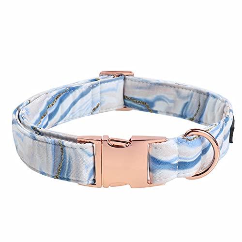 Collar para Perro Azul Pink Waves con Pajarita Cuello Suave y de Tela de algodón Hebilla de Metal Ajustable, Collar, S