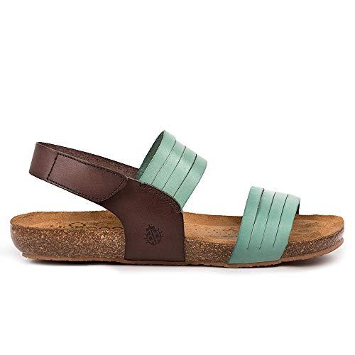 YOKONO - Sandalia Plana DE Tiras Y Cierre Trasero DE Velcro Cuero Mujer Color: Turquesa- Marron Talla: 36