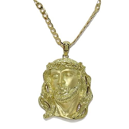 Never Say Never Cara de Cristo Muy Grande de Oro Amarillo de 18k con Cadena barbada Maciza de Oro Amarillo de 18k de 3mm de Ancha y 60cm de Larga.34.45gr de Oro de 18k