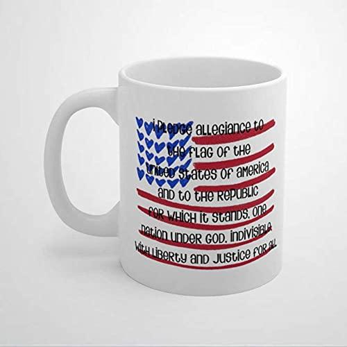 N\A Treueversprechen Gott segne Amerika 11oz Kaffeetasse Tasse patriotische amerikanische Flagge Patriot Neubürger Keramik Teebecher Getränkebecher für Karneval ValentinstagGeburtstagGeburtstag.