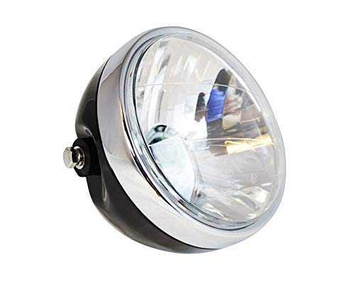 HANEU Phare de moto 35 W universel transparent rond à LED 600 900 CB400/900,17,8 cm, noir
