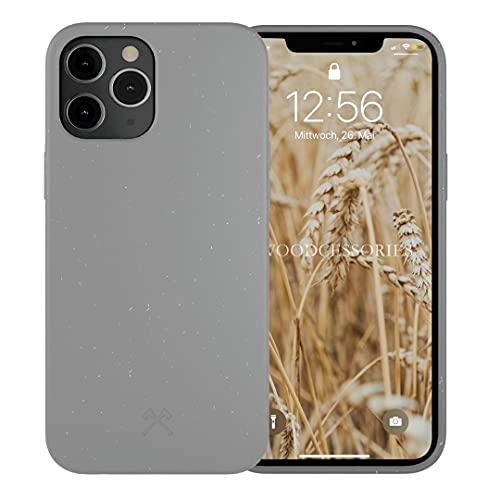 Woodcessories - Handyhülle kompatibel mit iPhone 12 Hülle grau, iPhone 12 Pro Hülle grau - Nachhaltig aus Pflanzen