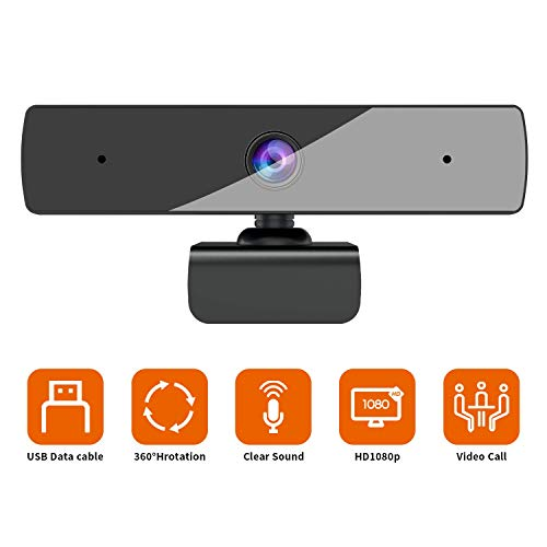 Webcam with Microphone (30fps), Full HD 1080P, Plug & Play Camera for Computer, Smart Tv, Laptop, with Built-in Dual Microphone, Multi-Compatible, for Video Conferencing, Recording, and Streaming