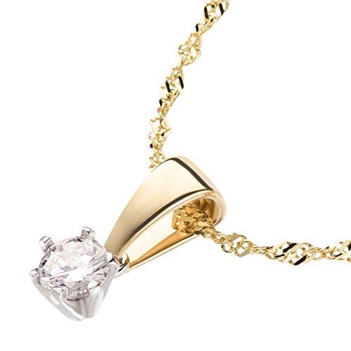 Ardeo Aurum Damen Anhänger mit Kette Collier aus 585 Gold bicolor Gelbgold Weißgold mit 0,15 ct Diamant Brillant Solitär Singapurkette Halskette