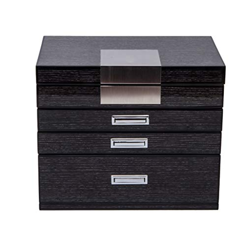 pojhf GYDSSH Caja de joyería for Las Mujeres, joyería Organizador, Caja de la joyería con el Espejo, for los Anillos, Pendientes, Collares, Regalo del día de Madres (Color : Black)