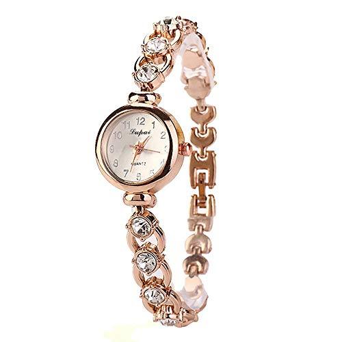 QiKun-Home Relojes de Pulsera de Banda Delgada de Moda para Mujer, Reloj de Cuarzo para Mujer, Relojes de Pulsera de Moda para Mujer con Diamantes de imitación, Regalo Dorado