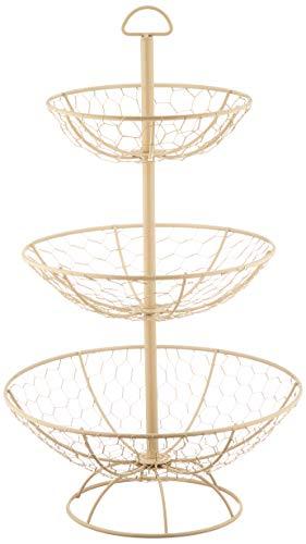 T&G 23050 Provence Wireware 3-Tier Basket, Cream, 30 x 50 cm