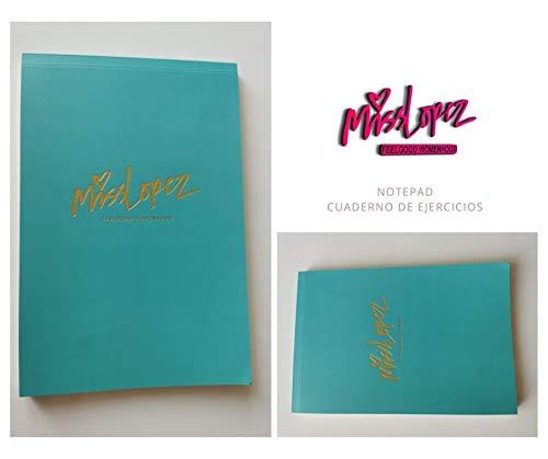 Bloc de Notas Lopez Miss A5, Cuaderno de notas eco en Verde agua Tapa Blanda Diario de Viaje Libreta Diarios para Escolar Para ejercicios de motivación. Cuaderno para la inspiración.