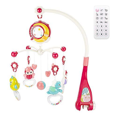 CALISTOUK Móvil Musical para Cuna de Bebé con Mando a Distancia Luz de Estrellas Campanilla Decoración Sonajero para Cama Juguete Proyector de Cuna para Bebés Recién Nacidos (rojo)