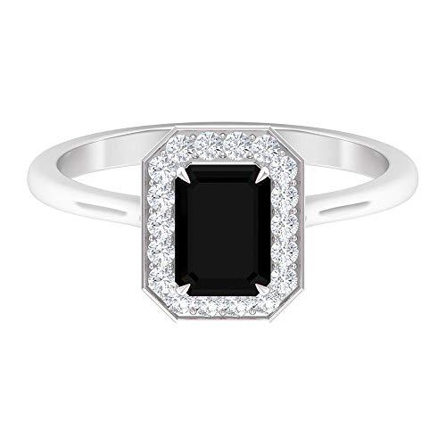 Rosec Jewels - Anillo solitario de diamante negro con forma de octágono de 7 x 5 mm, anillo de halo moissanita, 1,50 ct creado en laboratorio, 14K Oro blanco, Size:EU 47