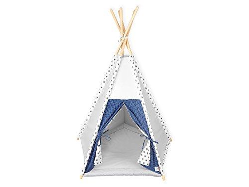 KraftKids Spielzelt-Tipi Unigrau kleine graue Sterne auf Weiss, Indianer-Zelt zum Spielen für Kinder, Kleinkinder und Babys, inkl. Spielmatte