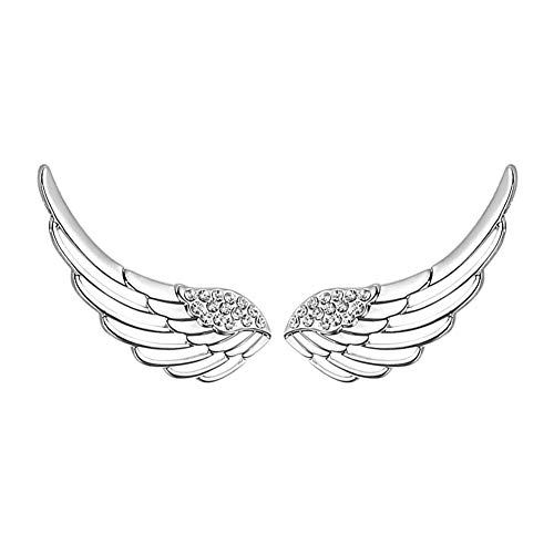Zolkamery Ear Cuff for Women, 925 Sterling Silver Angel Wing Stud Climber Earrings with 5A Cubic Zirconia, Allergy Free Jewellery as Birthday Christmas Anniversary Gift for Mom Girls Wife Ladies